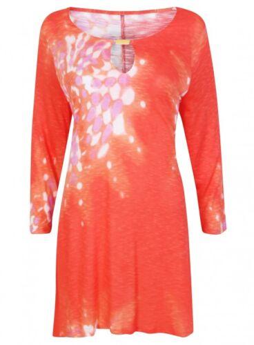 New Ex Marina Kaneva Orange White Waterfall Tunic Blouse Size 16-32
