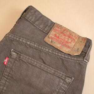 Levi-501-Jeans-Braun-Straight-Button-Fly-unisex-Vintage-Patchw-33l34-W-32-L-30