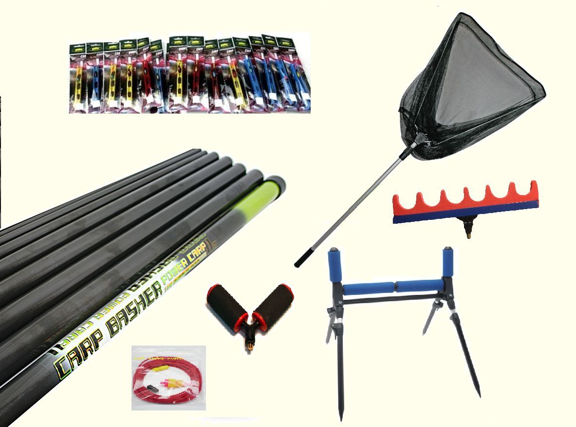 Elastic Fitted Carp Basher 11m Take Apart Pole Fishing Pole 2 Rollers Rigs Net