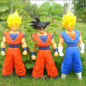 "Large Set Of Three Dragon Ball Z Figures Goku Vegetto Gokou Super 17""High Each"