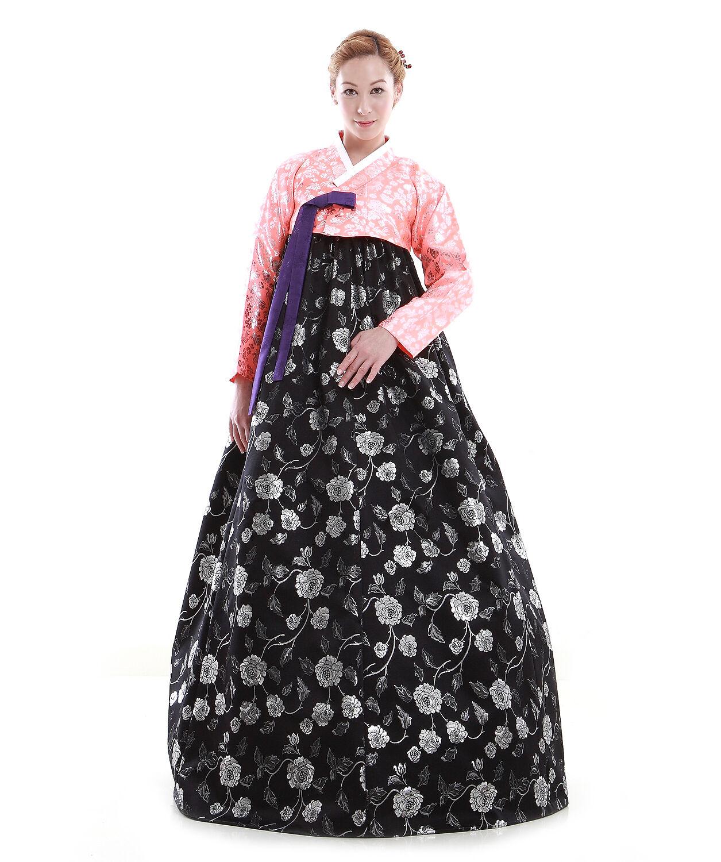 Hanbok Robe Coreenne sur mesure Coupe Moderne Fleurs de Pivoine black pink