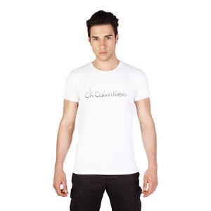 quality design 1f96e e5b13 Dettagli su CK Calvin Klein Jeans T-Shirt da Uomo a Manica Corta Girocollo  Bianca con Logo