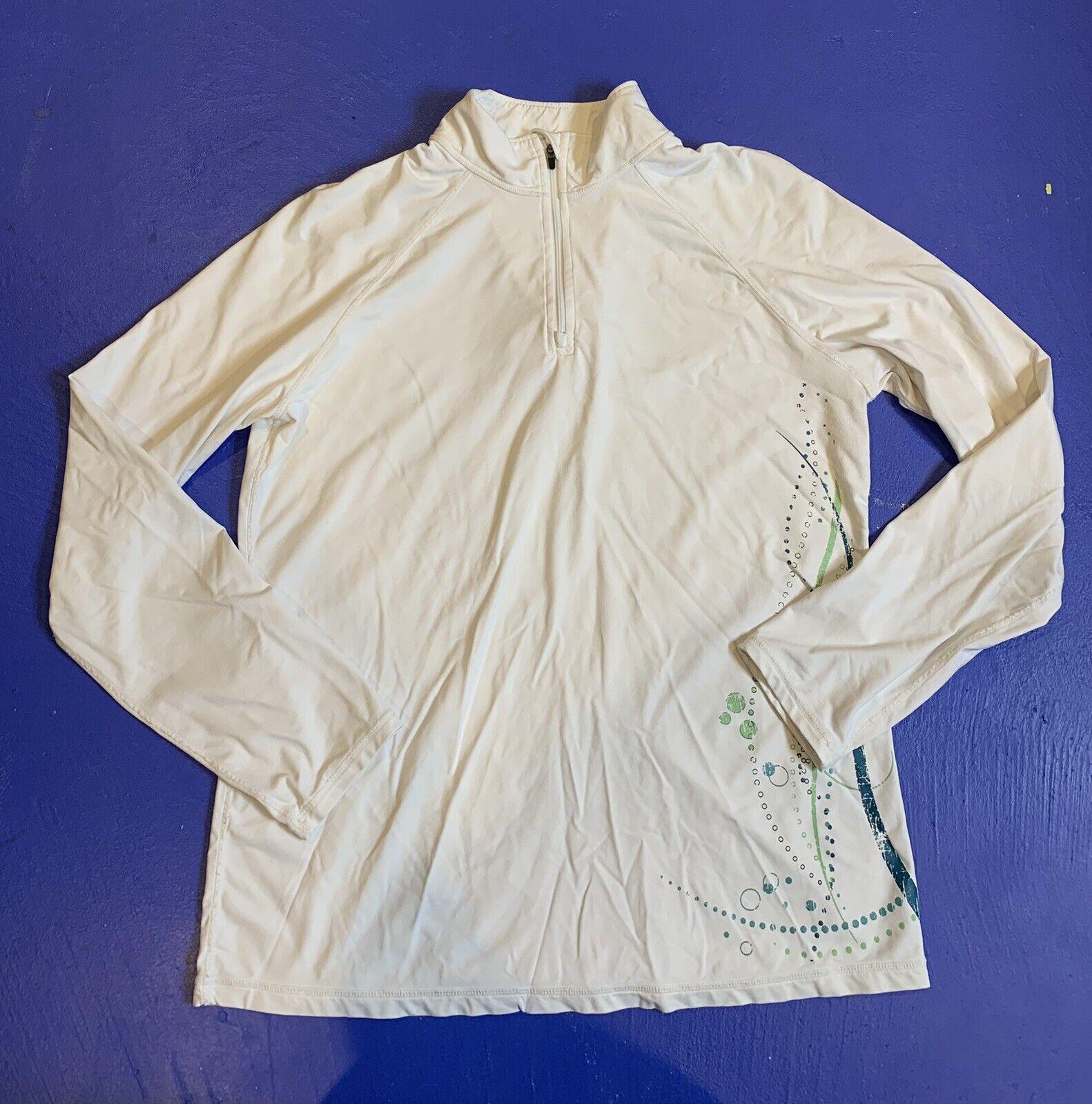 Title Nine 1/4 Zip Long Sleeve Pullover Athletic Jacket Womens Size Large White
