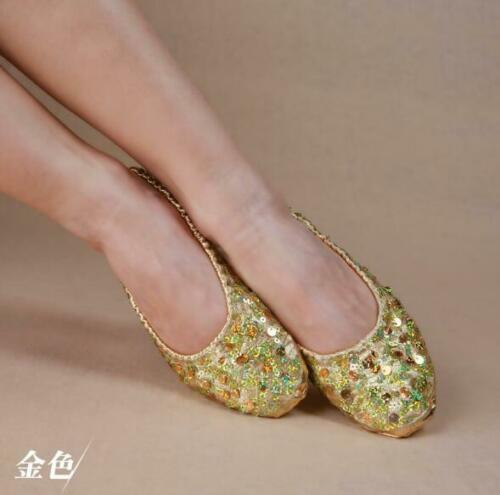 Gold Belly Shoes Dance Shoes Women Ballerina Dancing Practice Sequins Soft Shoes