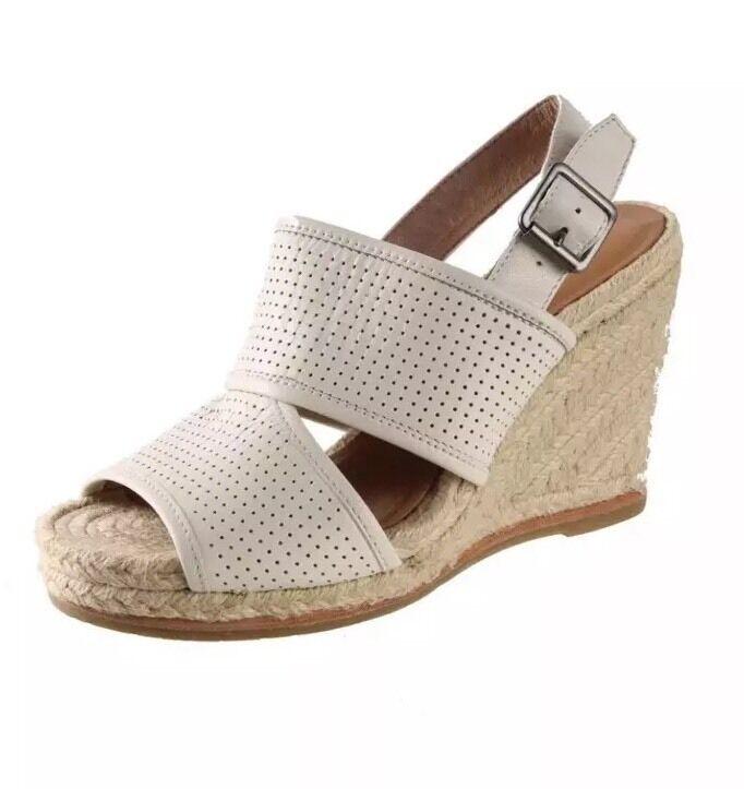 Biala Sz Womens White Leather Espadrille Wedges Sandals Euro Sz Biala 40 US 9 M c4e20a