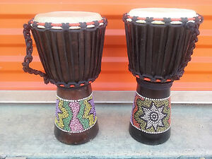 "HOLIDAY SALE! LOT OF 2 - Handmade 16"" x 9"" DJEMBE HAND DRUM BONGO - SAVE $"