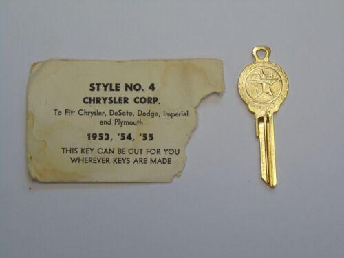 NOS Gold Texaco Key for 1953 1954 1955 Chrysler DeSoto Dodge Imperial Plymouth