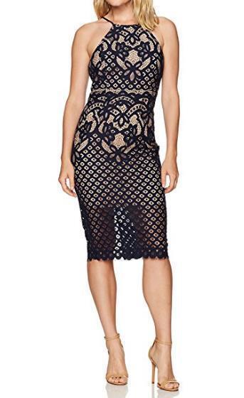 NEW Bardot Mila damen Größe 6 Small Navy Blau Crochet Lace Bodycon Dress Party
