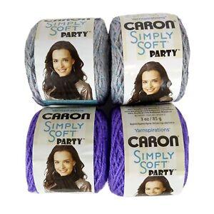Lot-4-Cakes-Caron-Simply-Soft-Party-Yarn-Grape-Silver-Sparkle-3oz-ea-0008-0028