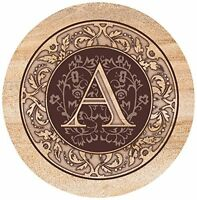 Thirstystone Drink Coaster Set, Monogrammed Letter A, New, Free Shipping on sale