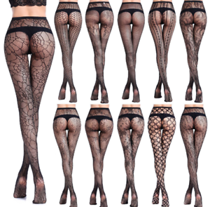 872b0109790c5 Image is loading Women-039-s-Black-Lace-Fishnet-Hollow-Patterned-