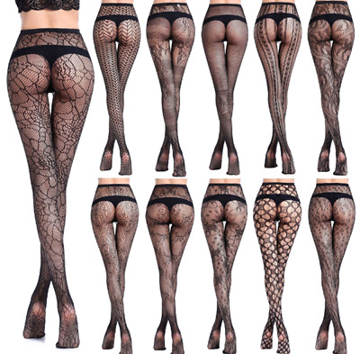 Women/'s Black Lace Fishnet Hollow Patterned Pantyhose Tights Stockings Plus Size