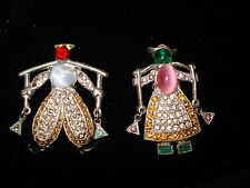 Pair of Vintage Rhinestone Sweater Fur Dress Scarf Clips Pins Dutch Boy and Girl