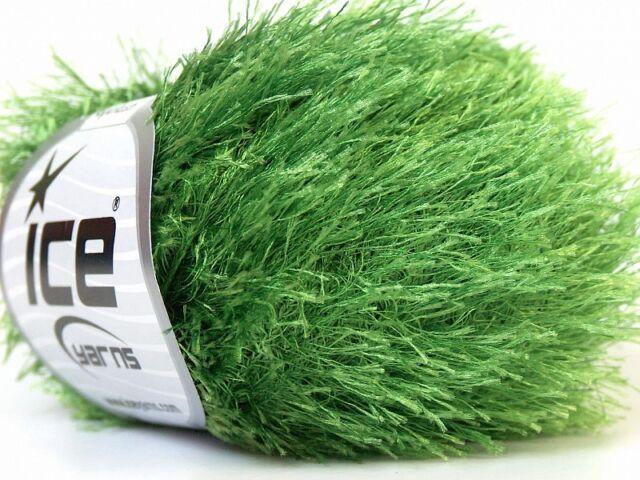 Grass Green Eyelash Yarn #22741 Ice Packer/'s Green Fun Fur Large 100 gr Jungle