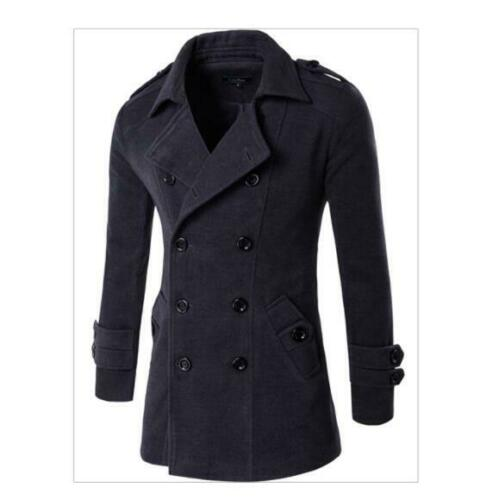 Fall Winter Men/'s Casual Cashmere Blend Double Breasted Pea Coat Trench Jacket