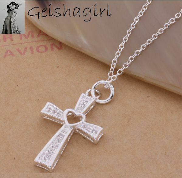 Women's 925 Sterling Silver CrossNecklace Chain ClearCrystal Heart Pendant UK
