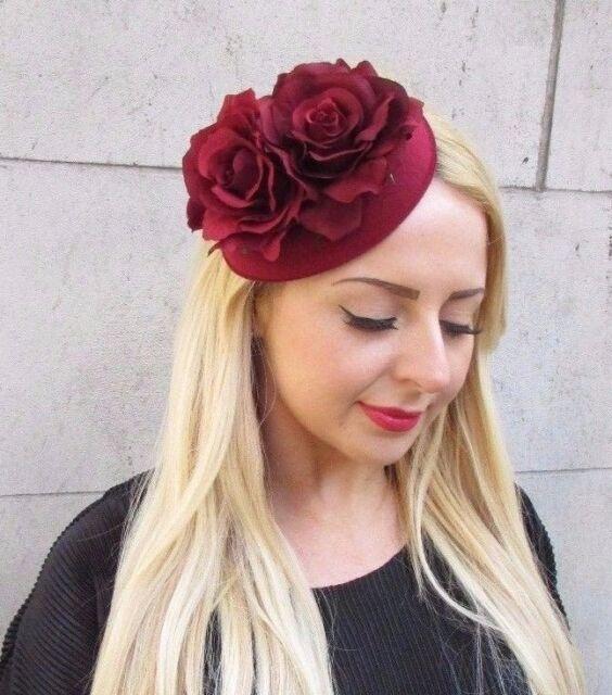 Burgundy Red Rose Flower Pillbox Hat Fascinator Races Vintage Headpiece 2377 ba9feb3bd54