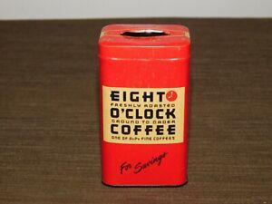 VINTAGE-KITCHEN-3-3-4-034-HIGH-EIGHT-O-039-CLOCK-COFFEE-TIN-COIN-SAVINGS-BANK