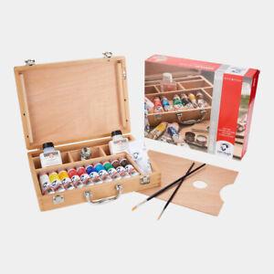 ROYAL-TALENS-Acrylfarben-Set-10-x-40ml-Van-Gogh-Acrylfarbe-Zubehoer-im-Holzkoffer