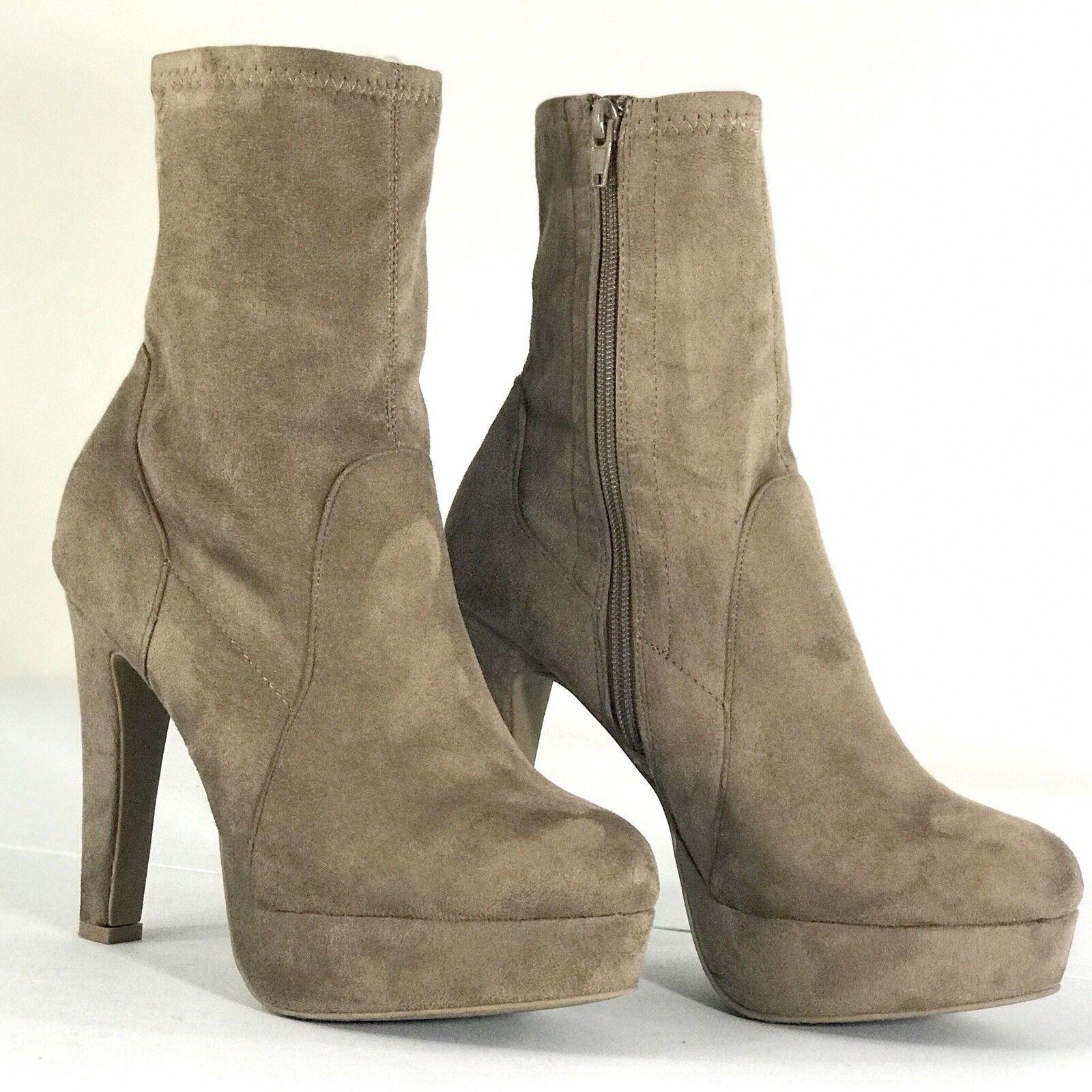 Platform Suede Ankle Booties Heels Tan Women Shoes Size 9