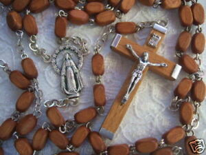 Catholic-Rosary-Brown-Wood-Box-shape-beads-4x8mm-Miraculous-medal-center-NOS