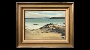 """Albert CHAVANON - """"Dans la baie de Brest""""- Huile sur toile - Paysage - Bretagne"""