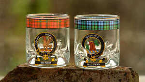 New Scottish Clansman Whisky Glass Hand Made in Scotland Clans A-M Available