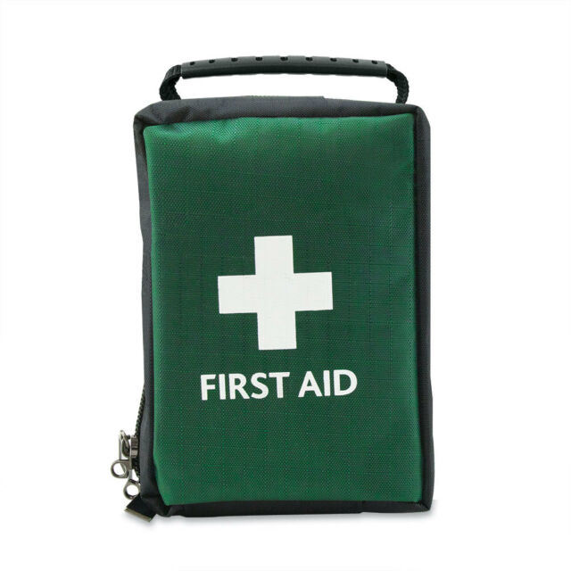 EMPTY FIRST AID KIT BAG WITH COMPARTMENTS - SMALL - GREEN - 14cm x 11cm x 8cm