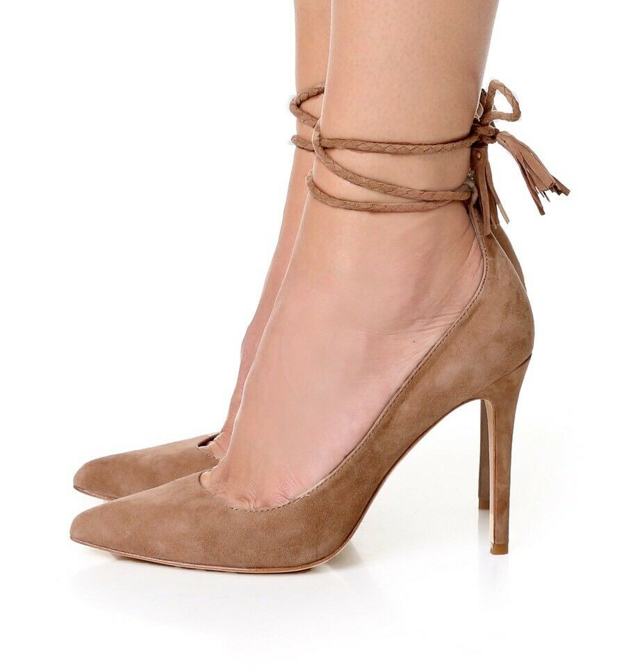 298 Joie Angelynn Suede Lace-up Wrap Pumps Tan Beige Tan Heels Pointed Sz  38.5