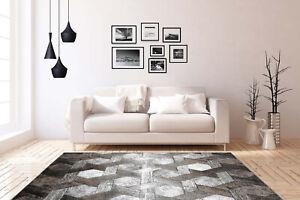Teppich-Flachflor-in-Platin-Beige-Abstrakt-Modern-Meliert-3D-Effekt-Wohnzimmer