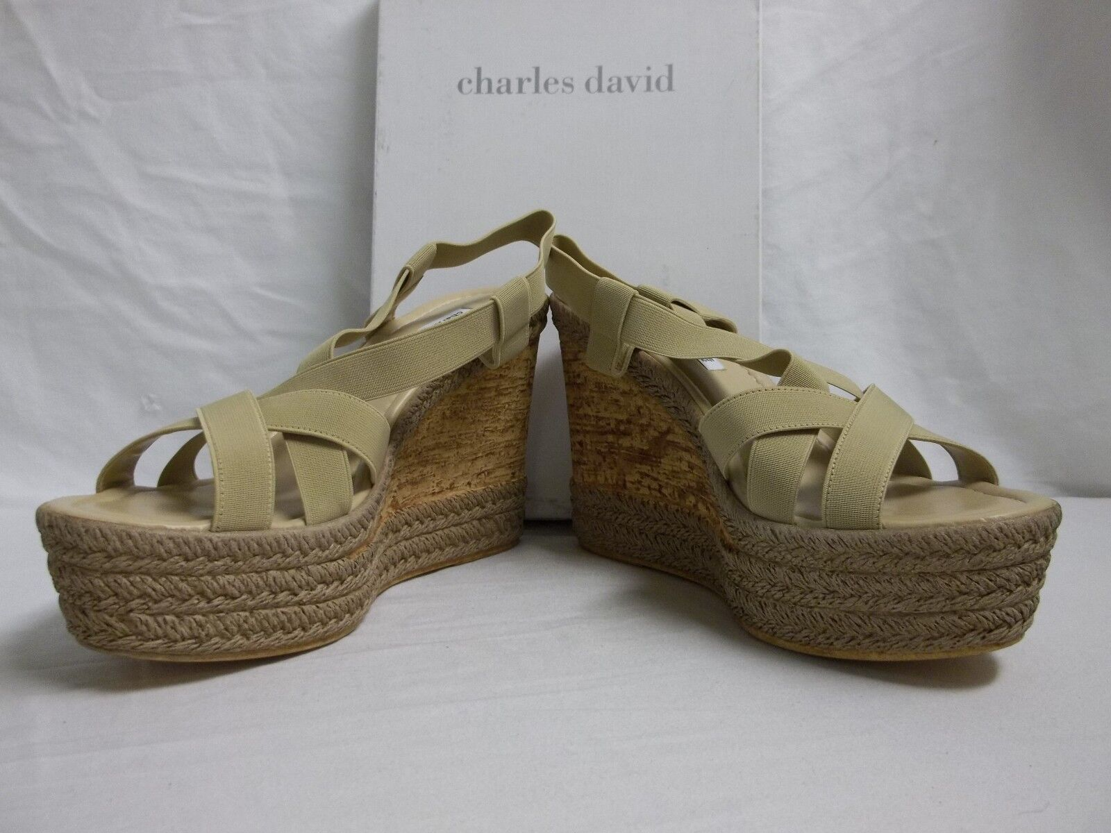 Charles David Size Size Size 10 M Fare Camel Elastic Open Toe Wedges New Womens shoes 1411c4