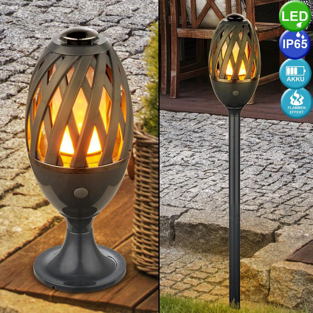 LED Lámpara de Mesa Fuego Efecto Iluminación al Aire Libre Lámpara de Jardín Balcón pica de tierra
