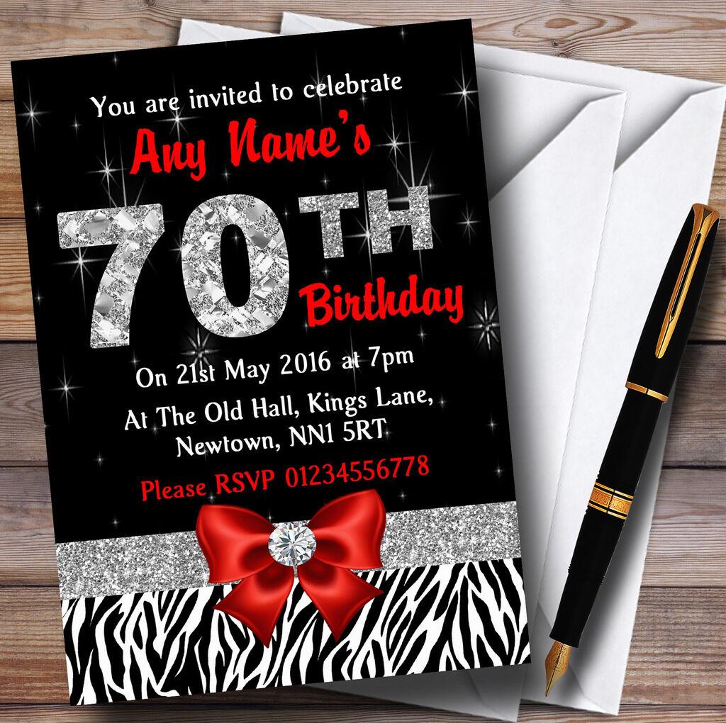 Losange 70e rouge et zébré 70e Losange anniversaire party invitations personnalisées dd8e53