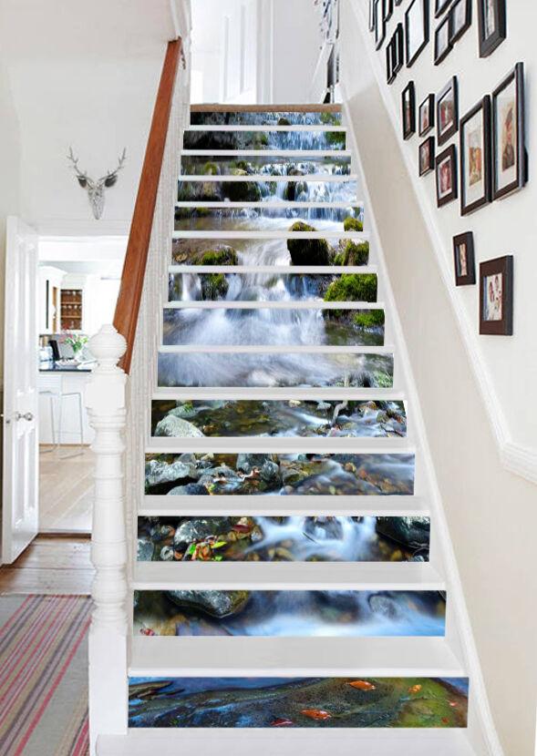 3D Sauber Bach 2232 Stair Risers Dekoration Fototapete Vinyl Aufkleber Tapete DE