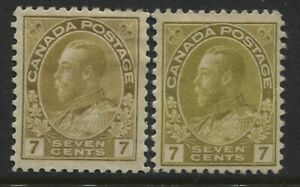 Canada-KGV-1912-7-cents-yellow-ocher-Admiral-and-1915-olive-bister-mint-o-g