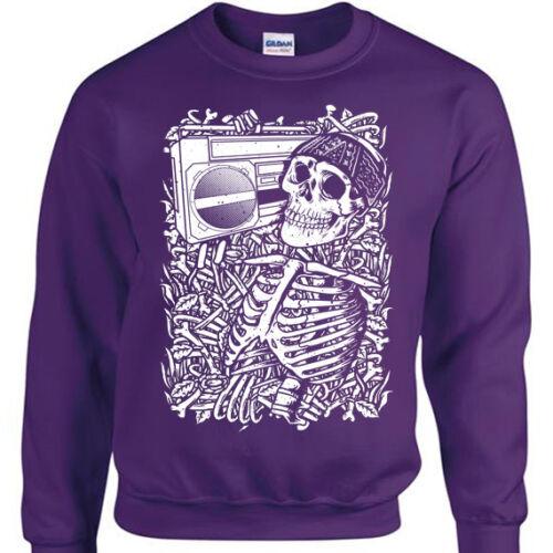 Skeleton Boombox Sweatshirt Mens Womens jumper skull music rock metal goth