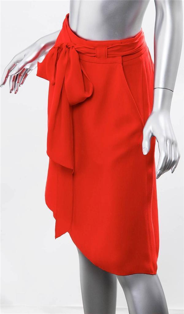 BOTTEGA VENETA Red Coral SILK Crepe A-line Belted Above Knee Short Skirt 42 NWT
