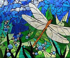 DRAGONFLY STAINED GLASS INSPIRED COMPUTER MOUSE PAD  9 X 7