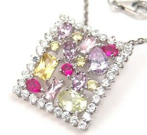 Sterling-Silver-Necklace-Amethyst-Peridot-Citrine-Ruby-color-Stones-New