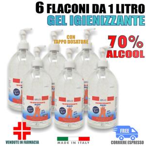 6 Litri GEL Mani Alcool > 70% Alcolico Igienizzante Antibatterico Disinfettante