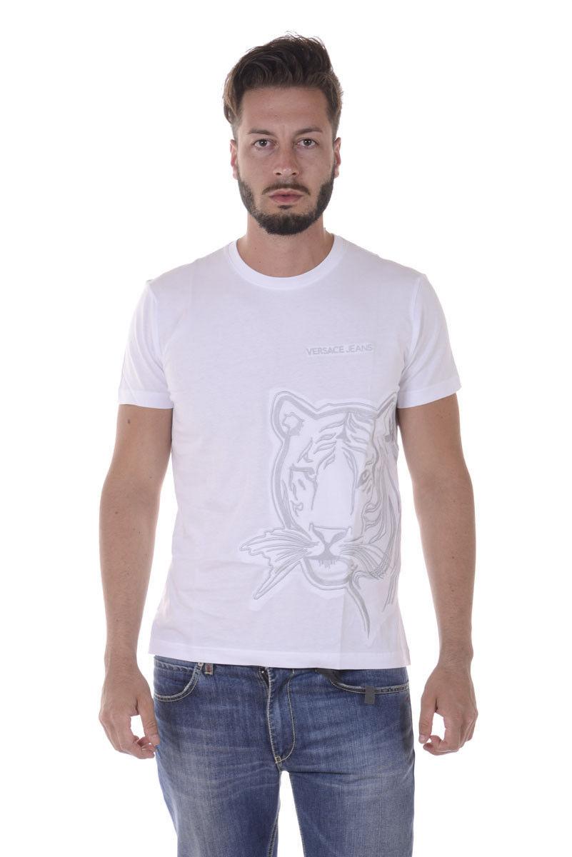 T shirt Maglietta Versace Jeans Sweatshirt SLIM Cotone  Herren Bianco B3GQA770 3