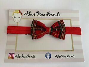 Baby-Headbands-Girl-Small-Tartan-6-CM-Red-Bow-Red-Elastic-Band-Christmas-Baby