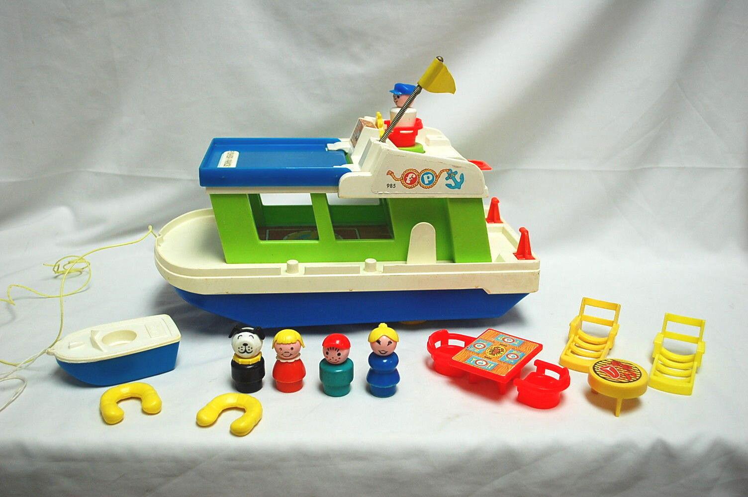 Fisher Price lycklig Housebåt årgång 1972 Komplett nr S8543