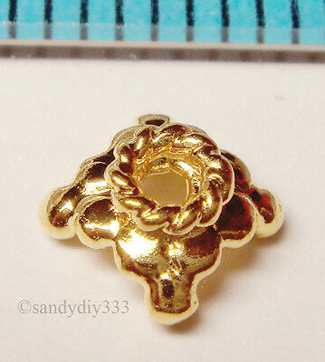 4x VERMEIL GOLD 18K plated STERLING SILVER DAISY BEAD CAP 5mm G107