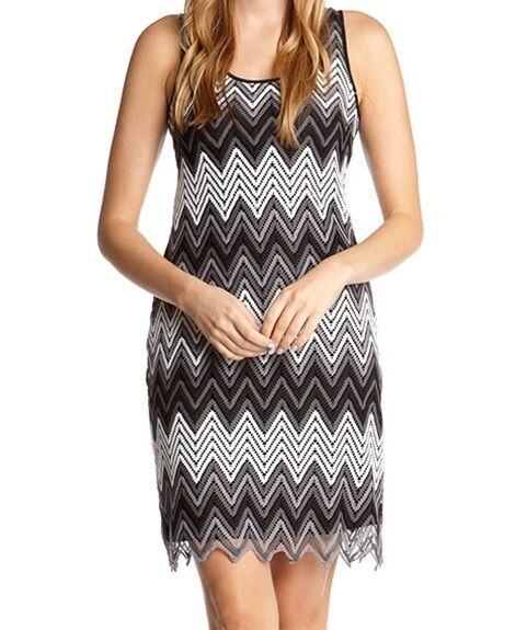Karen Kane 2M24550 Chevron Zig Zag Stretch Crochet Knit Tank Dress -