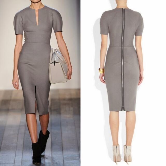 Elegant Slit Neckline Short Sleeve Womens Wear to Work Formal Pencil Dress Grey