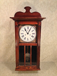 Details About French Clock Company Wall Clock With Great Wood Case Not Running Project Clock