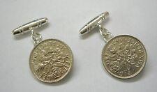 Plata esterlina 6d moneda seis peniques Seis Peniques Suerte Cufflinks Cadena T Bar vendedor del Reino Unido