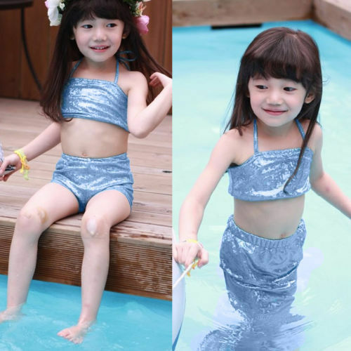 Toddler Kids Girls 3Pcs Mermaid Tail Swimming Bikini Set Swimwear Swimmable Suit