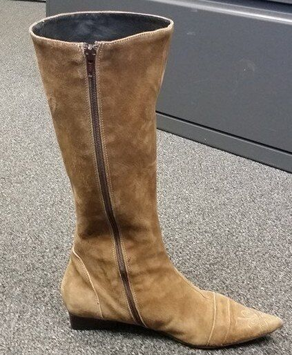 NERA SUEDE BEIGE POINTED TOE Stiefel MID CALF Stiefel TOE 5f3234
